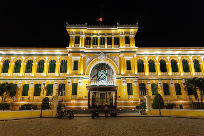 Ho Chi Minh City: photo of Central Post Office at night