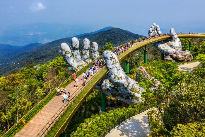 aerial view of tourists walking on one of Da Nang's famous destinations