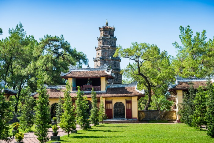 Hue: Thien Mu Pagoda from a distance