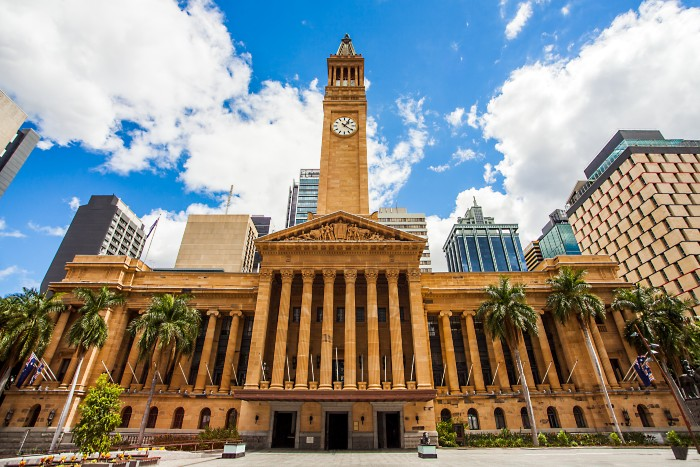 Facade of the Brisbane City Hall with the clock