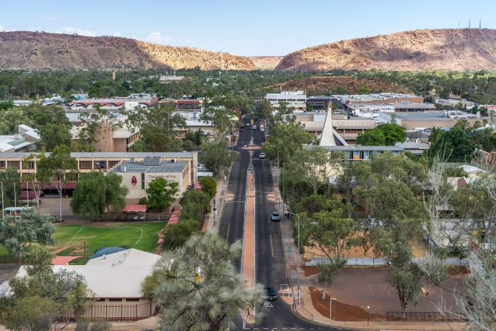 Alice Springs: an aerial shot of the town