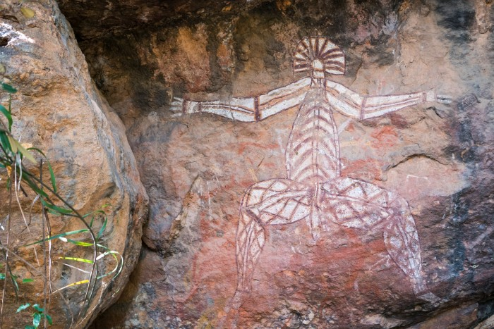 Alice Springs: an Aboriginal art on the wall