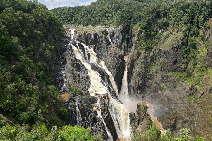 Cairns: A distant view of the Barron Gorge with the waterfall flowing