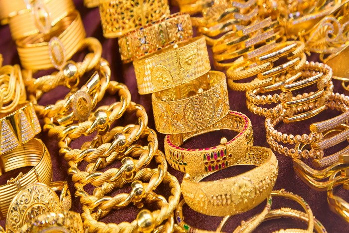 gold pieces of jewelry in the Dubai Gold Souk