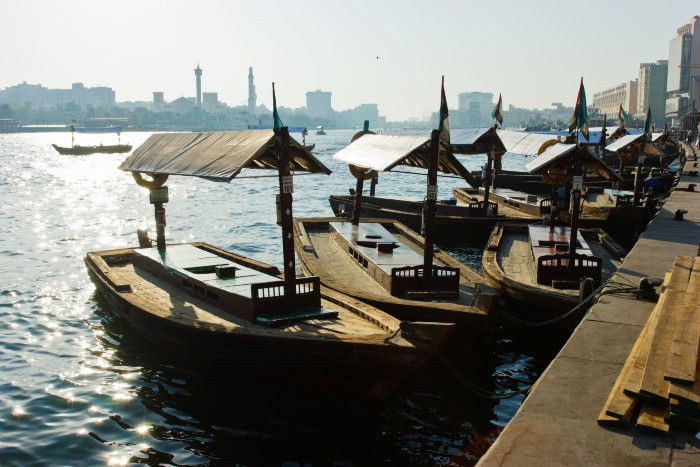 dhows docked in the Dubai Creek