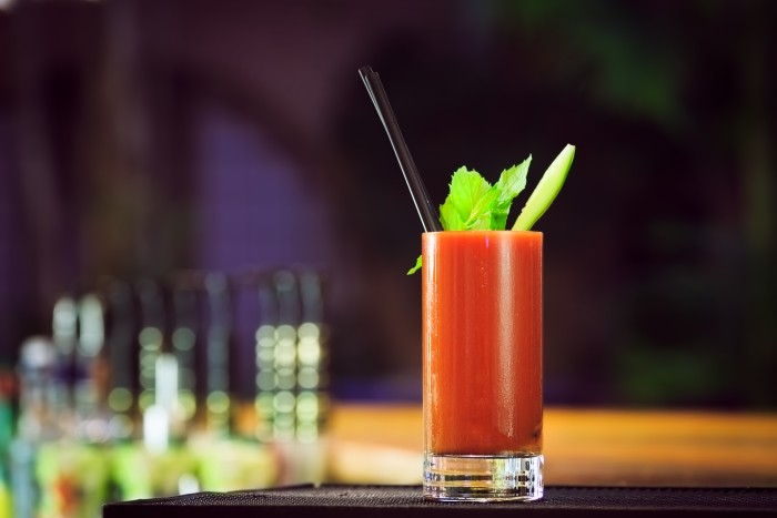 a tall glass of Bloody Mary