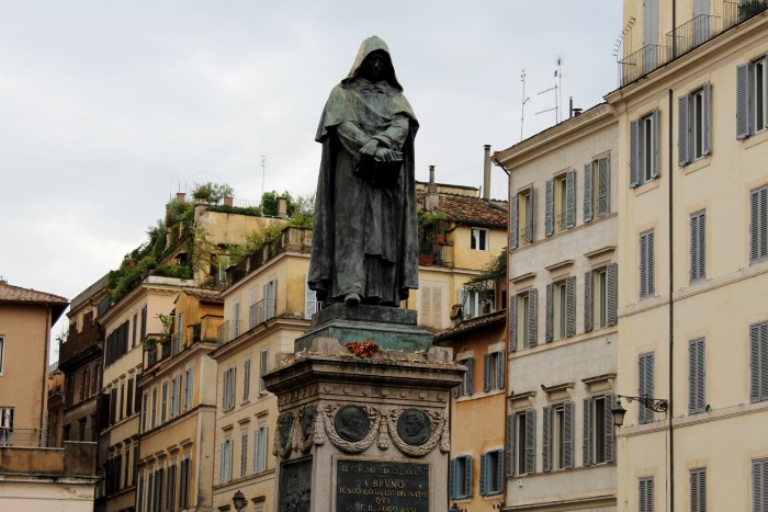 Rome: A statue of a robed man in the middle of Campo de' Fiori