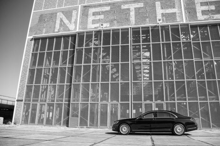 An image of a Mercedes S Class in front of a building in Abu Dhabi