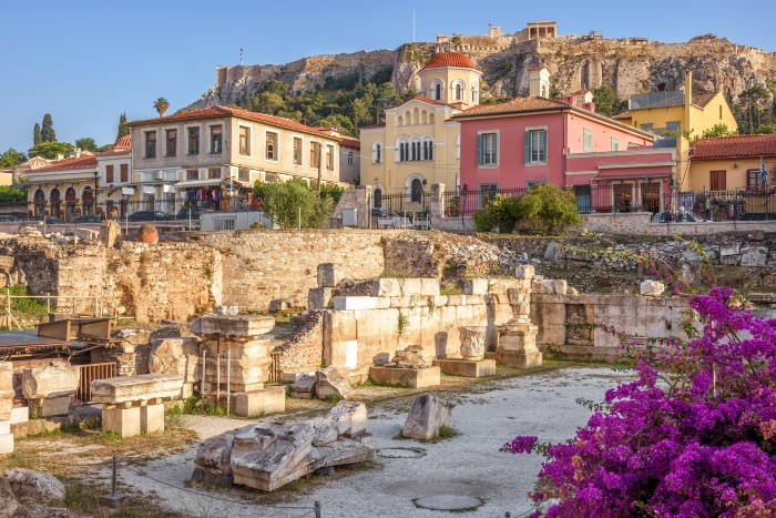 Athens: stone houses up on a cliff side