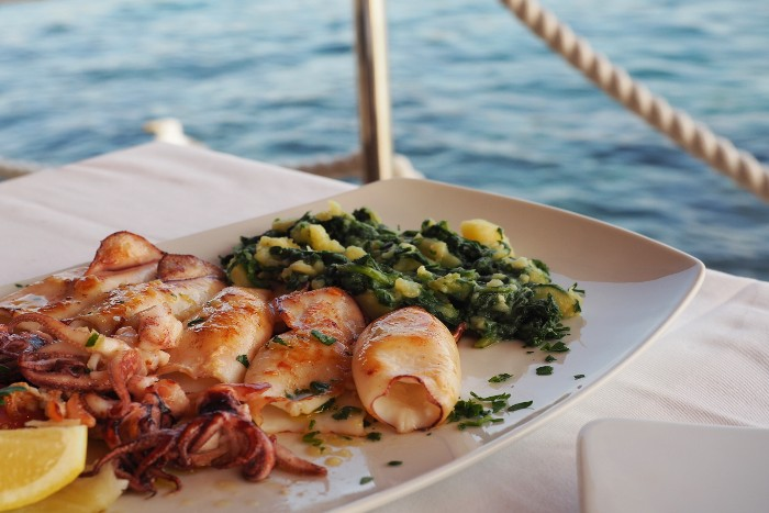 Split: a platter of seafood by the sea