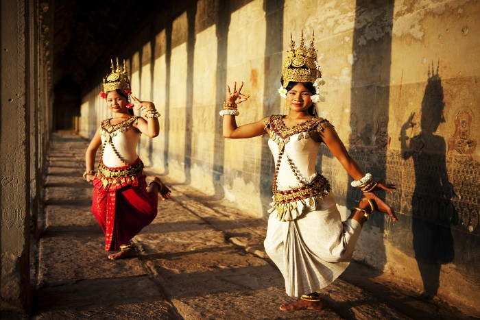 traditional Khmer dancers in costume
