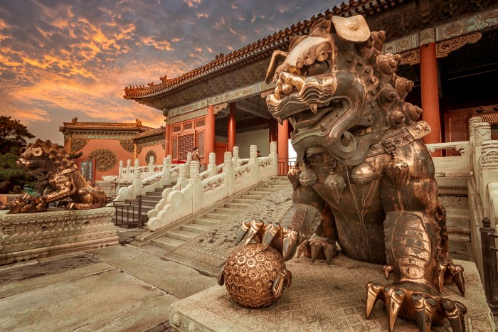 Beijing: a Chinese dragon statue on the foreground