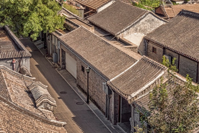 Aerial view of one area of a hutong
