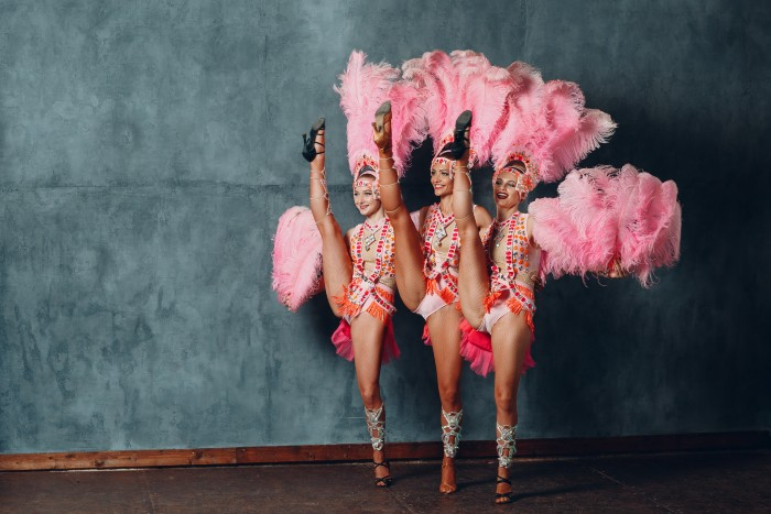 sexy cabaret dances in pink feathers