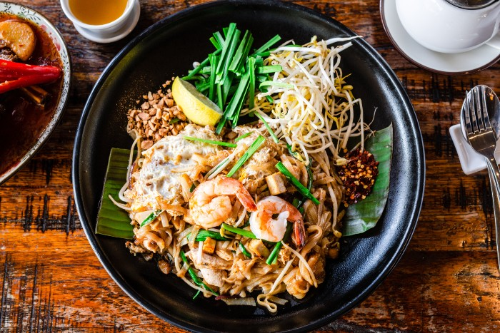 aerial view of a pad thai