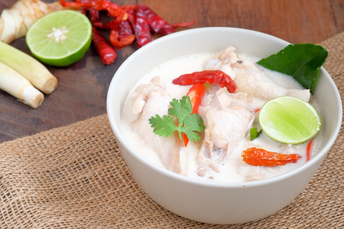 chicken dish with coconut milk served in a bowl