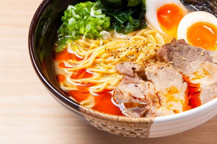 delicious looking ramen with egg and veggies