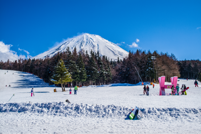 Tokyo: a ski resort with snow-capped Mt Fuji in the backgroun