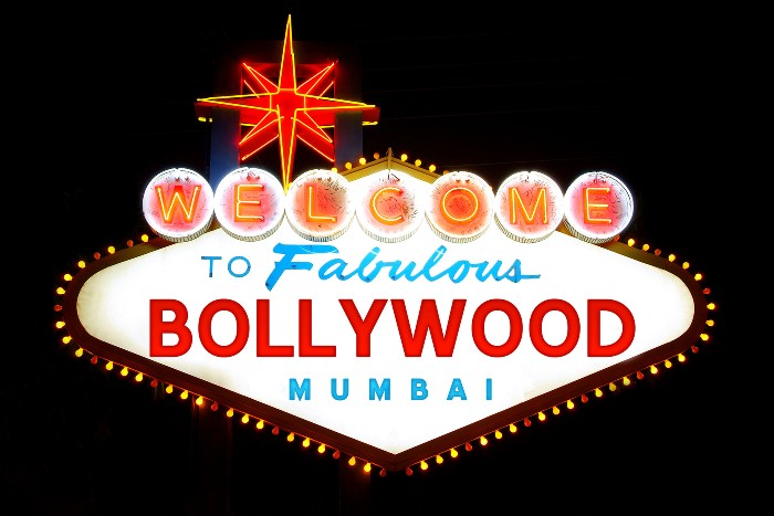 signage of the Bollywood all lit up