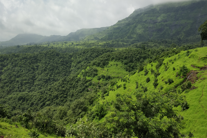 Mumbai: view of the green mountains on a cloudy day