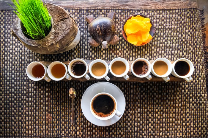 a line of various types of coffee