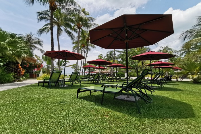 Penang: a collection of outdoor umbrellas with chairs in the garden of a hotel